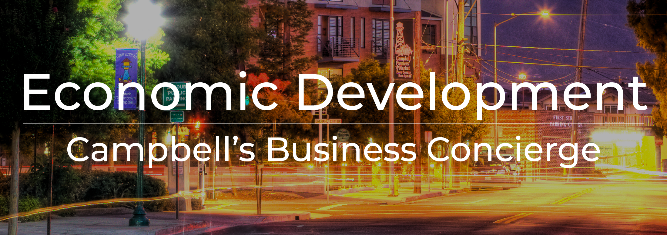 """Economic Development - Campbell's Business Concierge"" in text on top of evening  image of"
