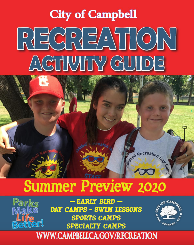 Cover photo of Summer preview guide two boys from camp smiling with female camp leader