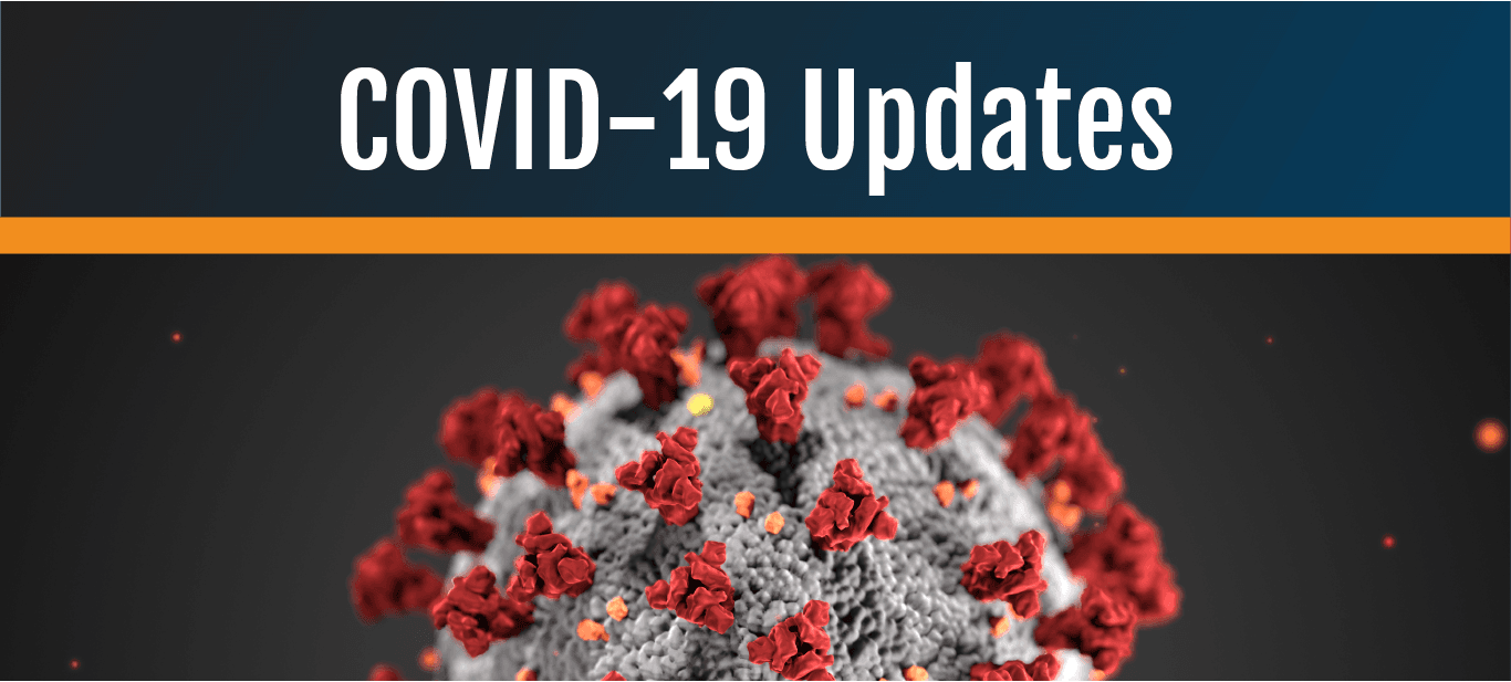 COVID-19 local updates with a microscopic image of a virus.