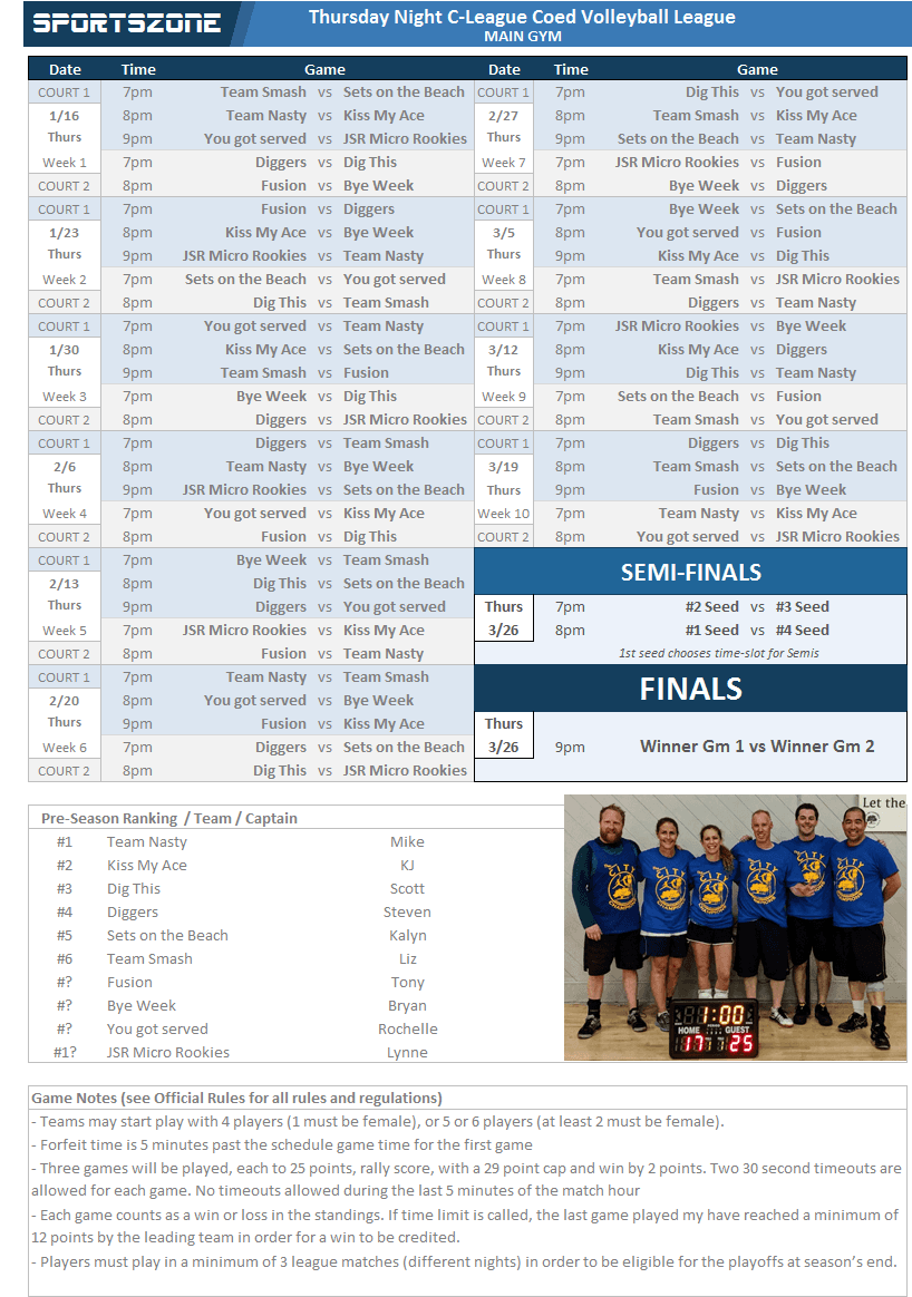 Volleyball C-League Schedule
