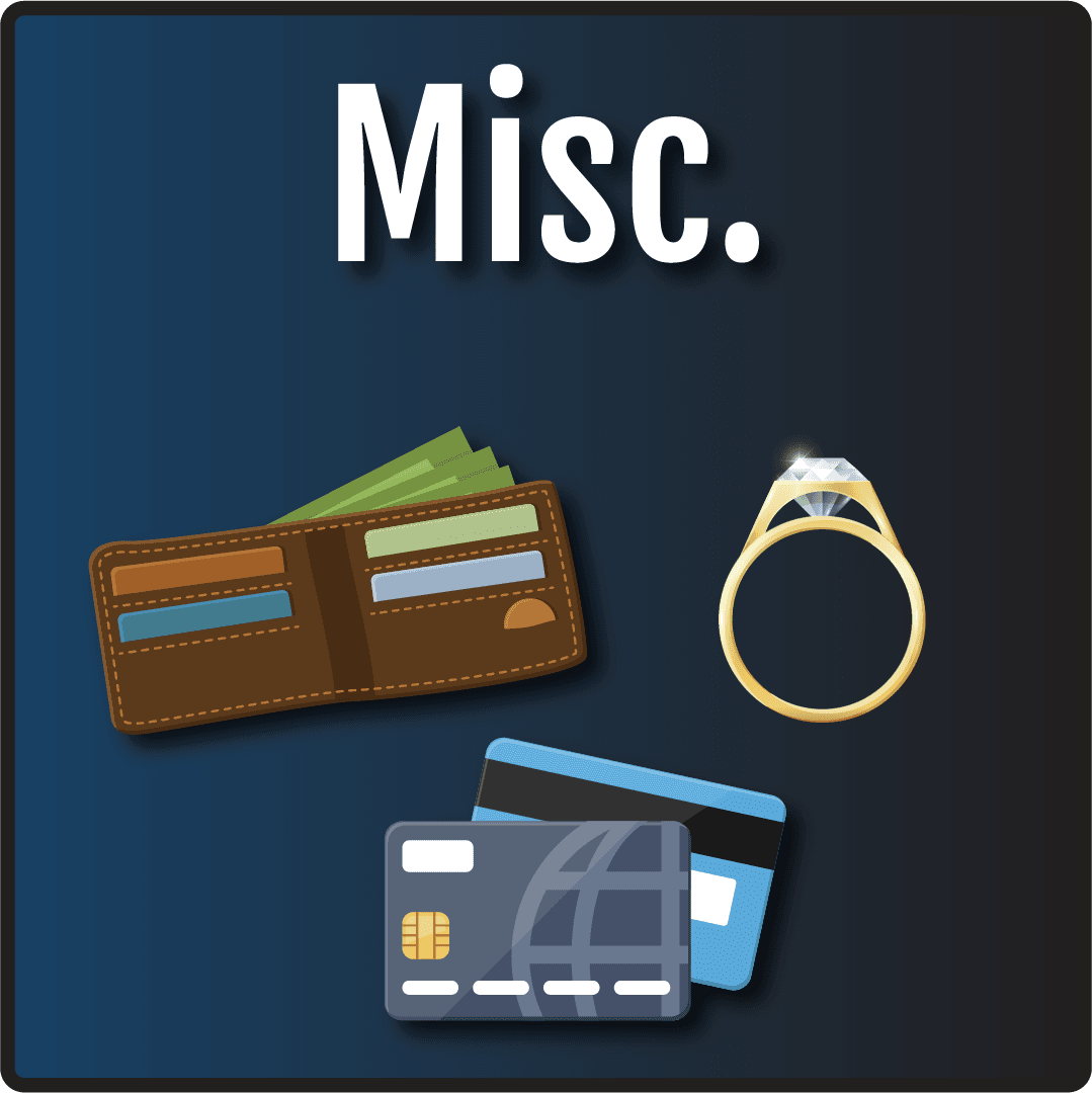 Misc. in text with cartoon images of a wallet, credit cards, and a wedding ring.