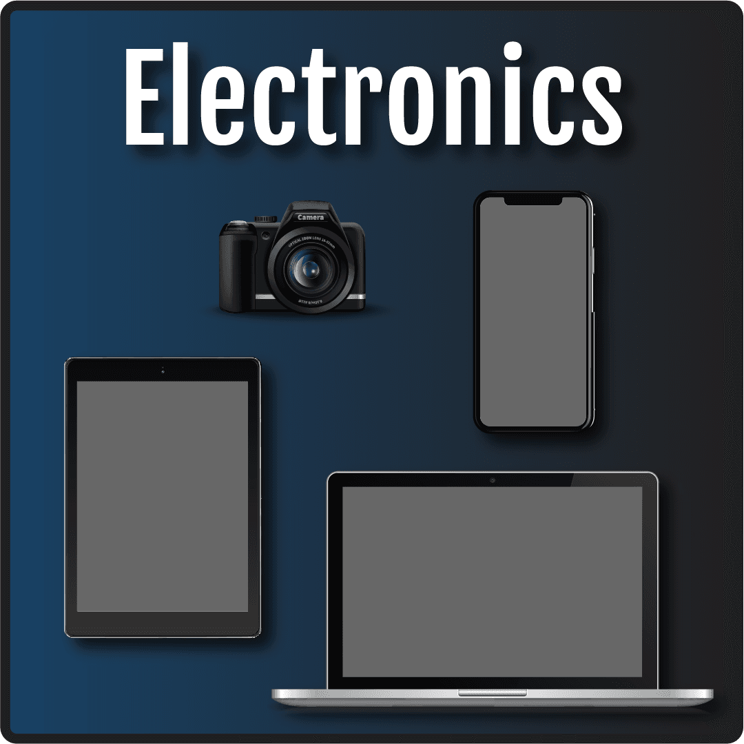 Electronics in text with cartoon images of a iPhone, iPad, laptop and camera.